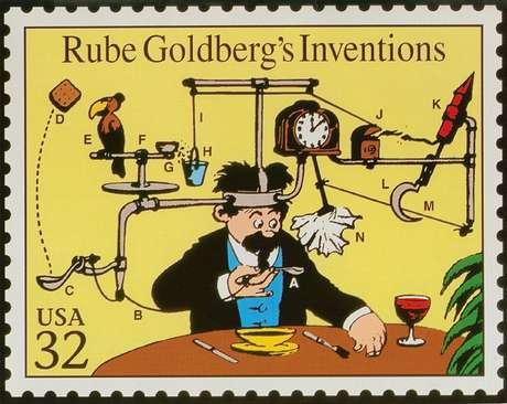 Selo em homenagem ao cartunista e inventor norte-americano Rube GoldbergRube Goldberg Inc Divulgação via REUTERS