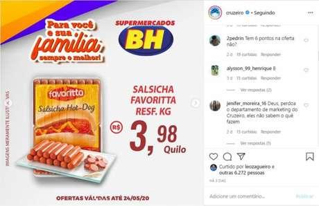 Cruzeiro divulgou as ofertas de supermercado patrocinador nas redes sociais (Foto: Reprodução)