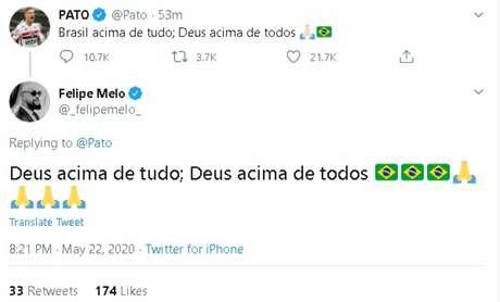Pato ganhou apoio do rival Felipe Melo após se posicionar a favor de Bolsonaro (FOTO: Reprodução/Twitter)