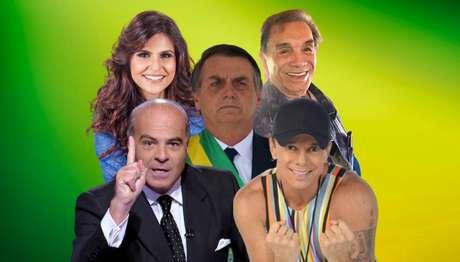 Bolsonaro entre Marcelo de Carvalho, Aline Barros, Dedé Santana e Netinho da Bahia: artistas ganham haters ao manifestar apoio ao presidente