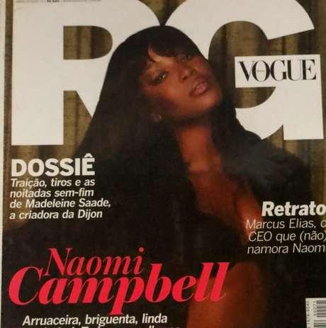 Naomi Campbell, que faz 50 anos hoje, maquiada por Max Weber para a revista RG (Reprodução)