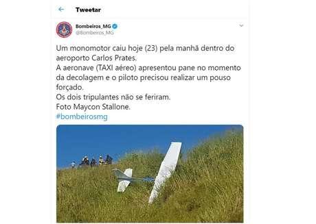 Avião de pequeno porte cai em BH; tripulantes não ficaram feridos