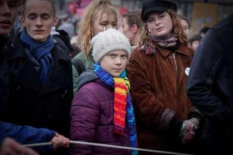 Greta Thunberg em manifestação em Bruxelas, em 6 de março