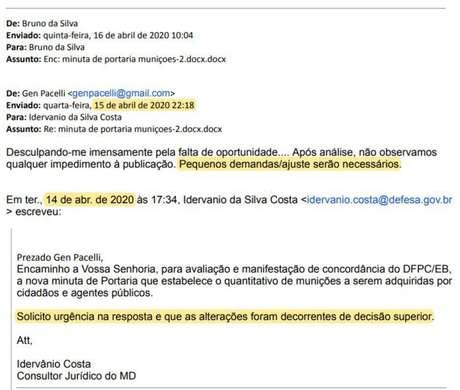 Às 22h de 15 de abril, o general de brigada Eugênio Pacelli Vieira MotaPacelli enviou parecer de apenas três linhas de seu e-mail pessoal sobre texto de norma que triplica o limite para aquisição de munição