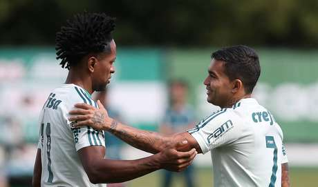 Zé Roberto e Dudu treinando juntos no Palmeiras (Foto: Divulgação/Palmeiras)