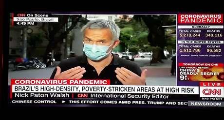O jornalista da CNN informou que o contágio no Brasil parece fora de controle