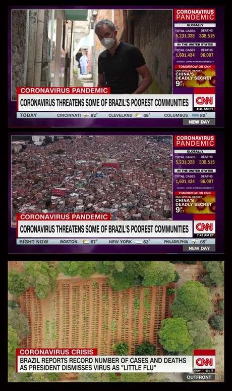 A CNN mostrou a insalubridade em uma favela e um cemitério com incontáveis covas abertas