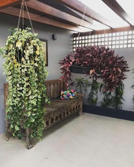 58. Modelos de jardim com plantas pendentes. Fonte: Arquiteta Thaissa Zacharias