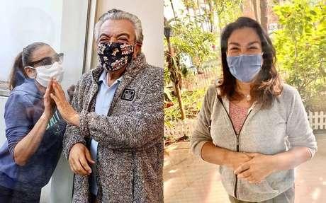 Mauricio de Sousa recebeu a visita de duas filhas, que ficaram do outro lado de umvidro em sua casa