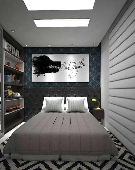 26. Decoração de quartos bonitos masculinos pequeno em cinza e preto – Foto: Home Fashion Trend