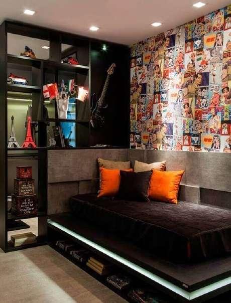 13. Decoração moderna para quartos bonitos masculinos pretos -Foto: Futurist Architecture