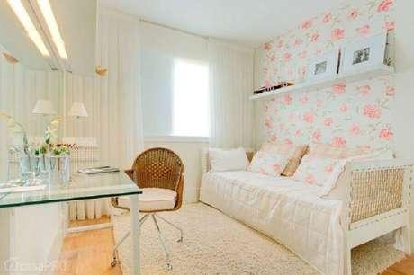 39. Papel de parede floral para decoração de quartos bonitos femininos – Foto: Pinterest