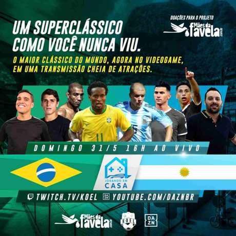 Zé Roberto e D'Alessandro promovem duelo virtual entre Brasil e Argentina neste domingo (Divulgação)