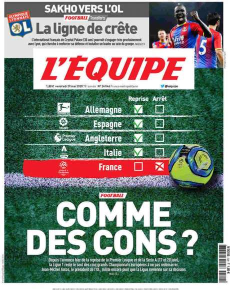 """Capa do """"L'Équipe desta sexta-feira (Foto: Reprodução)"""