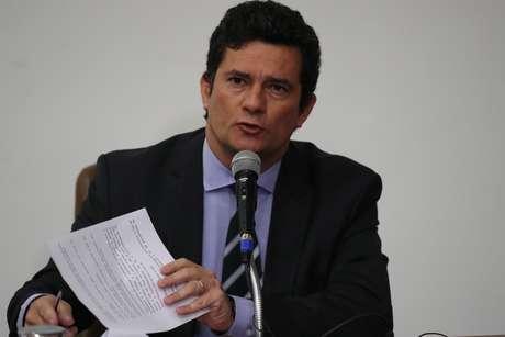 O ministro da Justiça e Segurança Pública, Sergio Moro, anuncia sua saída do governo em pronunciamento realizado na sede do Ministério, em Brasília