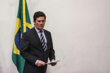 O ministro da Justiça e Segurança Pública, Sergio Moro, durante anúncio de sua saída do governo