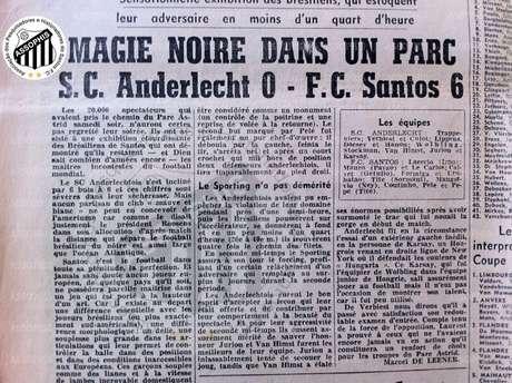 Santos goleou o Anderlecht em maio de 1960, há 60 anos (Foto: Reprodução/Assophis)