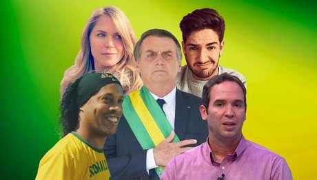 Jair Bolsonaro entre Ronaldinho Gaúcho, Susana Werner, Alexandre Pato e Caio Ribeiro: apoio ao presidente gera 'likes' e críticas