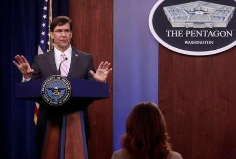 Secretário de Defesa dos EUA, Mark Esper. 14/4/2020. REUTERS/Jonathan Ernst