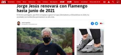 """Jornal """"As"""", da Espanha, também deu a notícia (Foto: Reprodução)"""