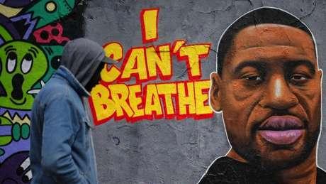 A morte de Floyd desencadeou reações em todo o mundo; o grafite na Alemanha mostra Floyd e seu apelo aos policiais