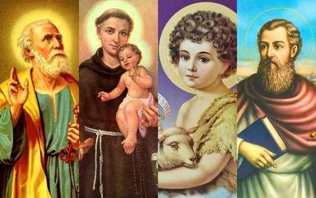 Montagem feita com a ilustração de quatros santos: São Pedro, Santo Antônio, São João Batista e São Paulo