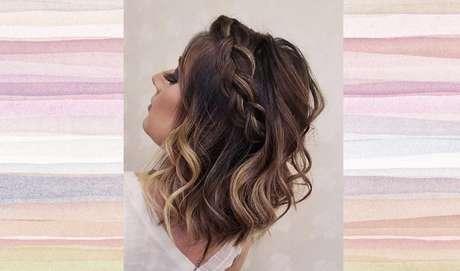 Faça uma trança começando no topo da cabeça e finalize prendendo debaixo das madeixas. Enrole os fios do cabelo para deixar o penteado volumoso – Foto: Reprodução/Pinterest