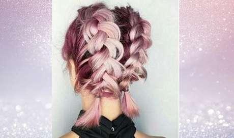 As tranças embutidas na parte de trás também não são exclusividade de quem tem cabelos longos. Olha como o penteado fica lindo em fios curtos! – Foto: Reprodução/Pinterest