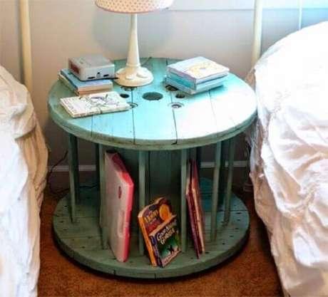5. Criado mudo redondo antigo feito com carretel de madeira serve de apoio para livros. Fonte: Pinterest
