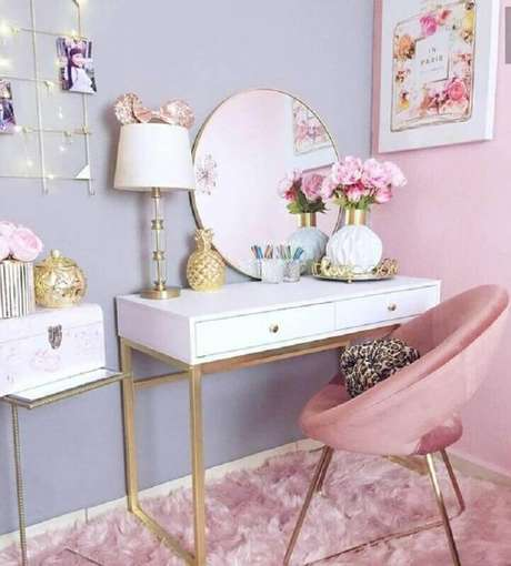 13. A combinação do azul com rosa pastel fica linda e deixa o ambiente mais moderno – Foto: Pinterest