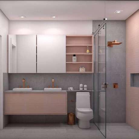 23. Decoração em cinza e rosa pastel para banheiro planejado moderno – Foto: Pinterest