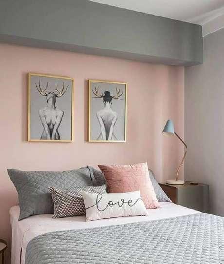 29. A combinação de rosa tom pastel e cinza é perfeita para ambientes bem modernos – Foto: Projetos Criativos