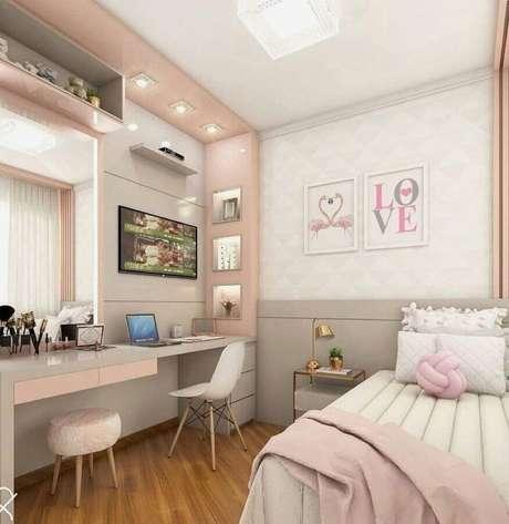 1. Tons de rosa pastel podem deixar a decoração do quarto super delicada e aconchegante – Foto: Futurist Architecture