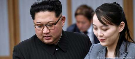 Kim Jong-un ao lado de sua irmã mais nova, Kim Yo-jong