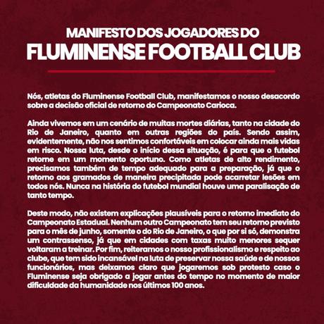 Texto assinado pelos jogadores do Fluminense (Foto: Reprodução)