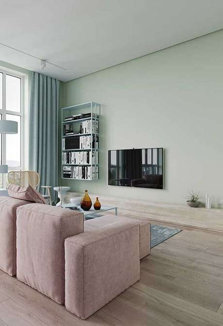 7. Decoração minimalista para sala verde menta – Foto: Behance
