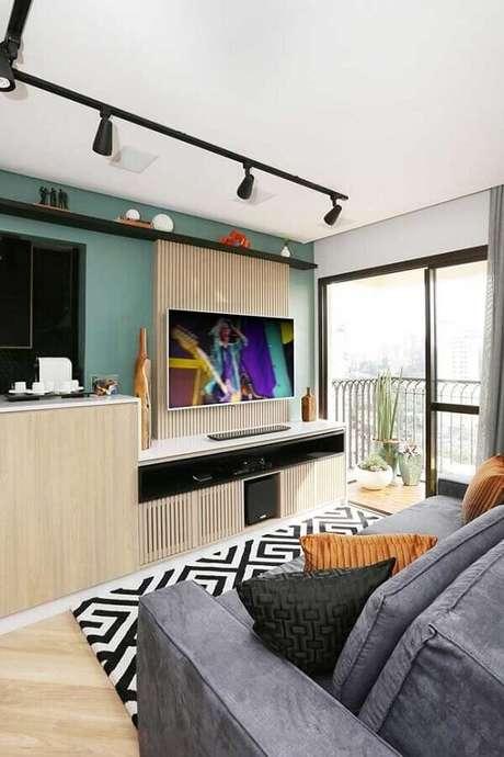3. Para salas pequenas prefira usar tonalidades mais claras de verde – Foto: Pinterest