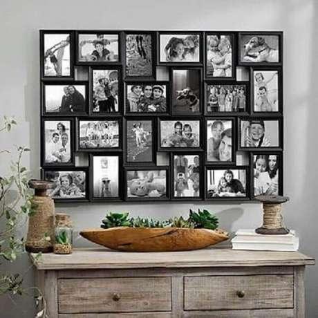 29. Decoração rústica com parede com quadros de fotografia – Foto: Pinterest