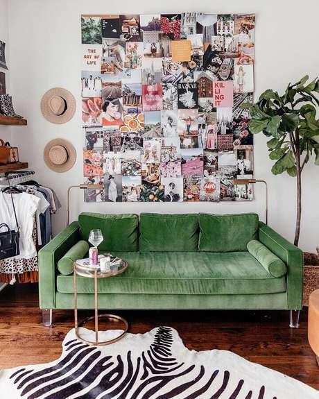 27. Decoração simples para sala verde e branca – Foto: Pinterest