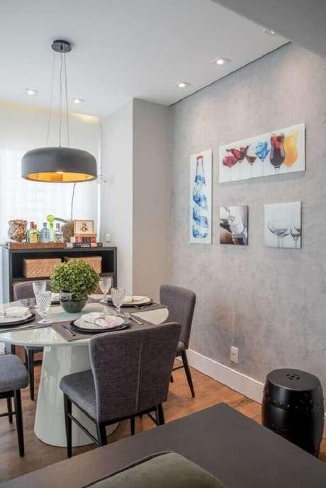 52. Quadro para parede de sala de jantar cinza moderna – Foto: Pinterest