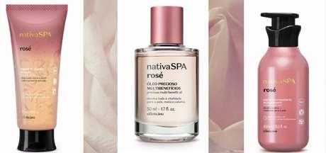Sabonete líquido, óleo multibenefícios e loção corporal, itens de Nativa Spa Rosé que o Terra testou