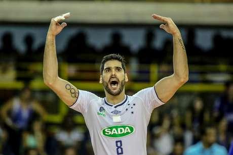 O jogador Evandro Guerra do Sada Cruzeiro durante a partida entre Sada Cruzeiro e Zenit Kazan