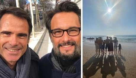 Pedro Lima ao encontrar Rodrigo Santoro em evento para atores na Espanha; e a última foto do galã com a mulher e os cinco filhos