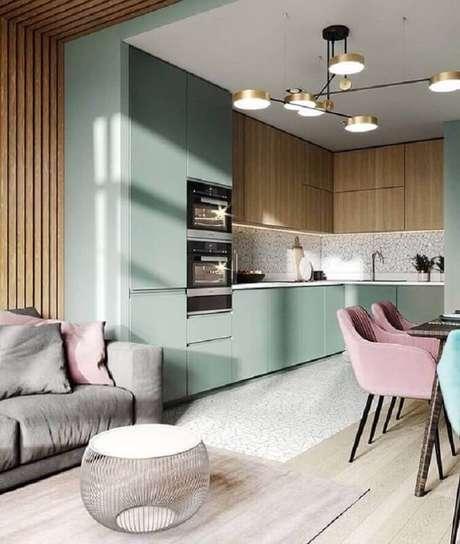 35. Decoração moderna para cozinha verde menta planejada – Foto: Futurist Architecture