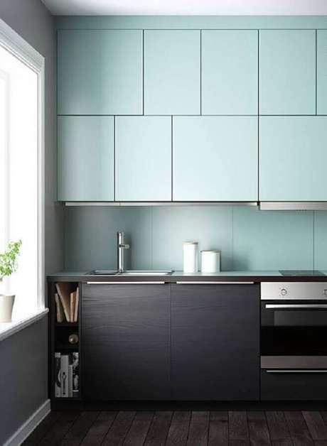 36. Armários planejados modernos para cozinha verde menta e preta – Foto: Lokoloko