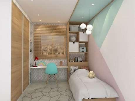 2. Invista na combinação de cores pastéis com o verde menta para uma decoração bem suave e delicada – Foto: A + G Arquitetura e Engenharia