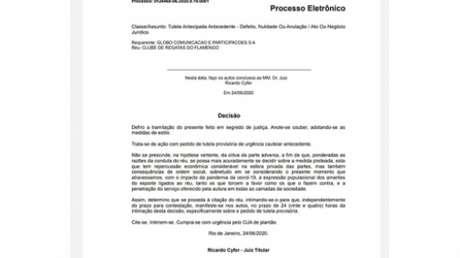 Decisão do juiz Ricardo Cyfer na íntegra (Foto: Reprodução)