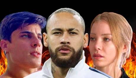 Neymar entre Tiago Ramos e Najila Trindade: o atacante renderia muita prosa no reality show rural da RecordTV