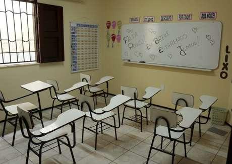 Vista de uma sala de aula em escola da cidade de Fortaleza, no Ceará