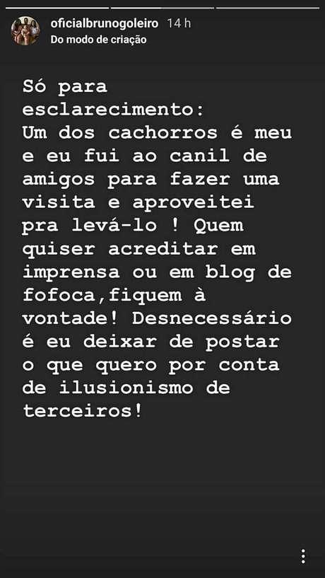 Goleiro Bruno se defende no Instagram